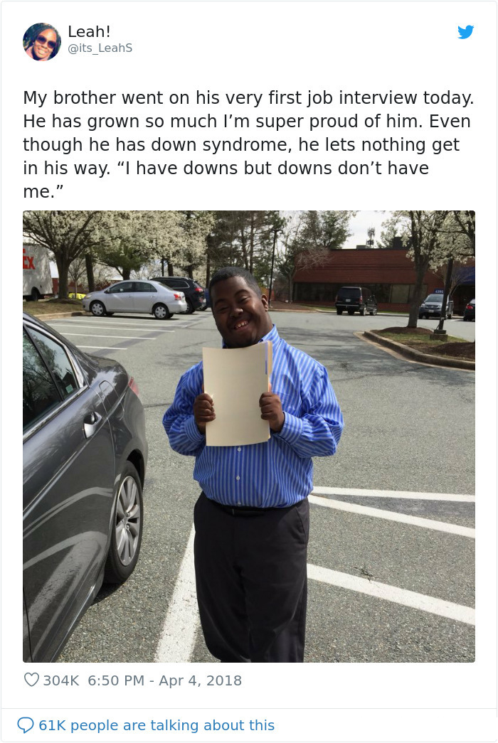 wholesome positive stories down syndrome first job interview