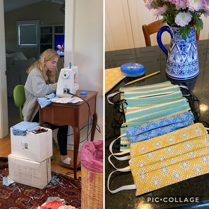 wholesome positive stories girl learns sewing to make face masks