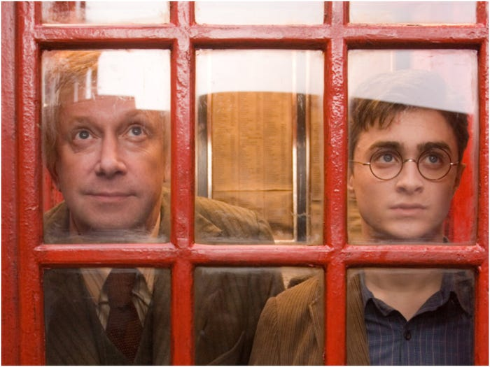 Arthur Weasley and Harry Potter at Ministry of Magic