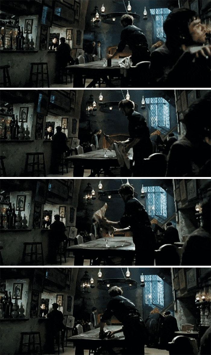 Bartender Making a Bottle Disappear in Prisoner of the Azkaban