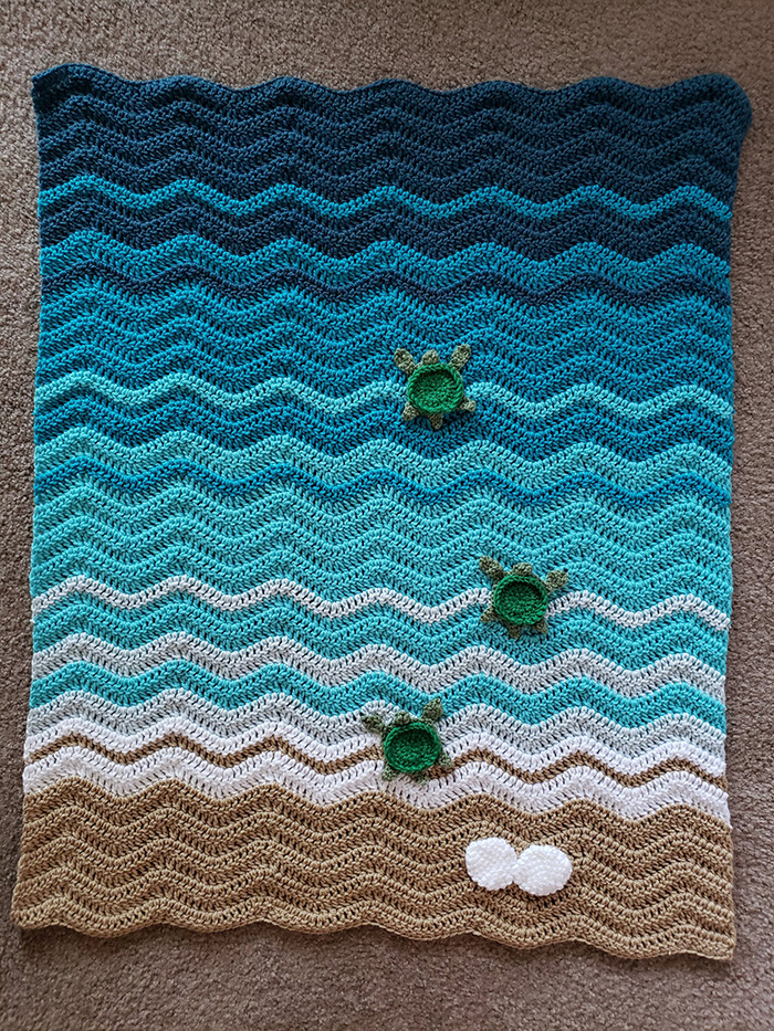 Crochetcreationsbyge Crochet Duvet with Hatchlings and Seashells