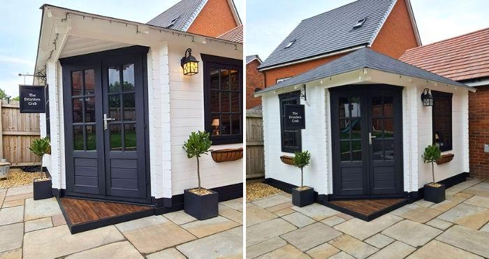 DIY mini pub in garden