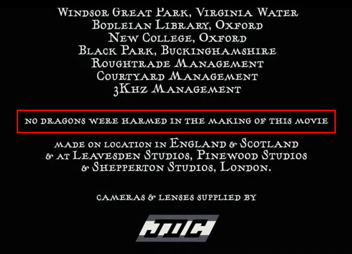 Harry Potter and the Goblet of Fire End Credits Disclaimer