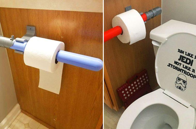 Lightsaber mounted toilet paper holder