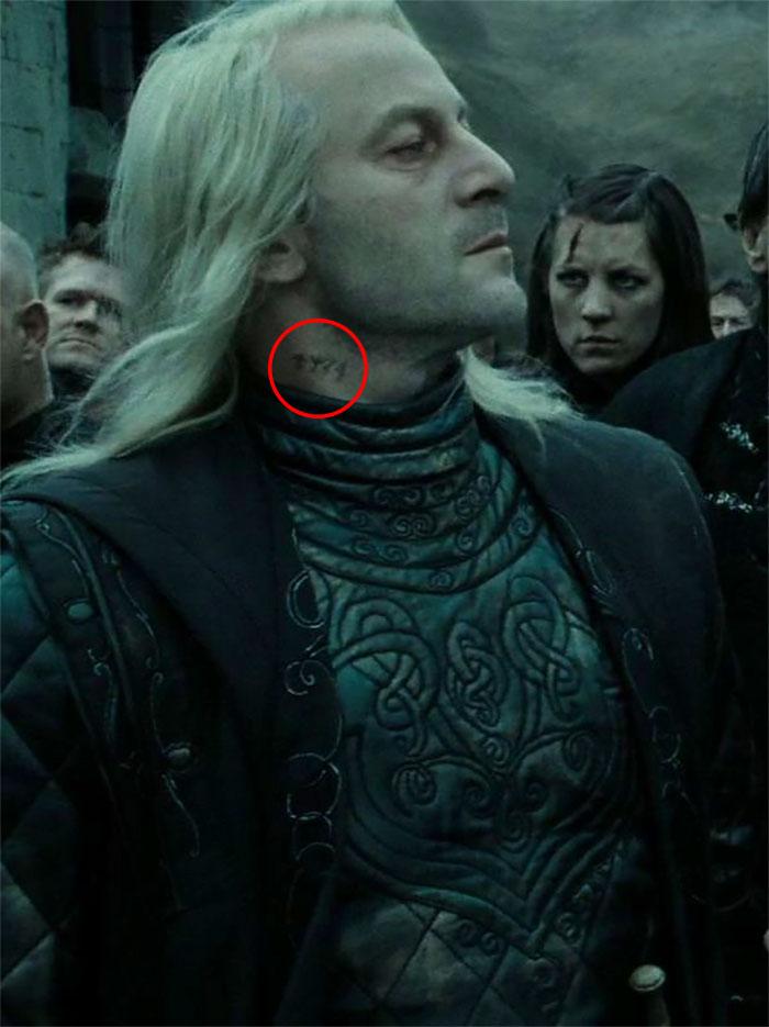 Lucius Malfoy Azkaban Prisoner Number Tattoo on His Neck
