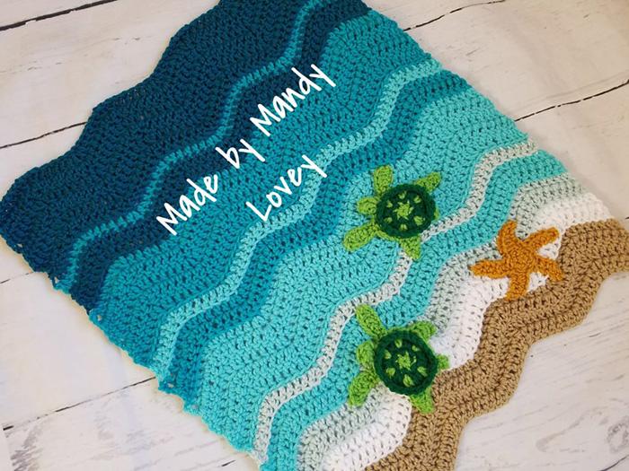 MadeByMandy86 Crochet Sea Turtle Beach Blanket