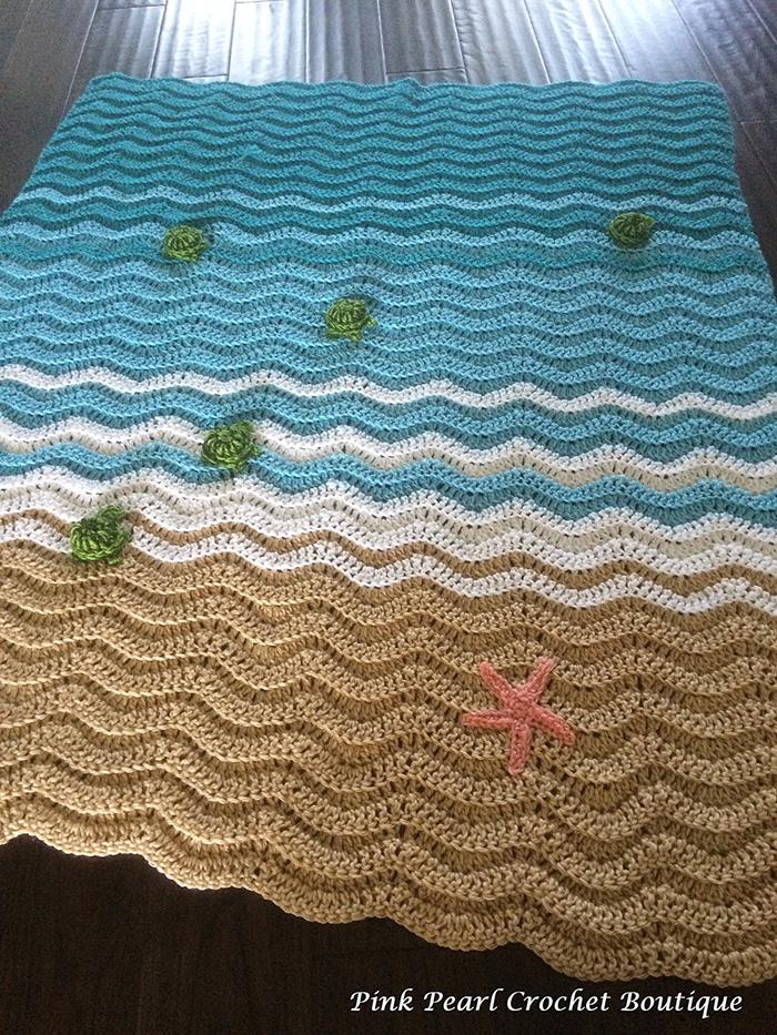 PinkPearlCrochetCA Sea Turtle Beach Blanket