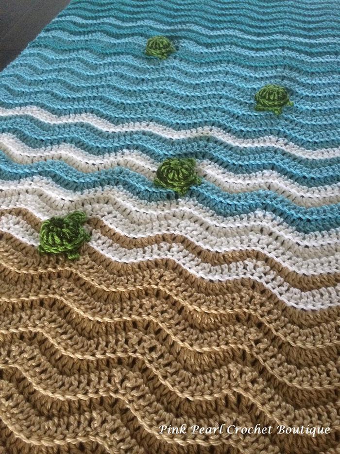 PinkPearlCrochetCA Sea Turtle Beach Crochet Blanket