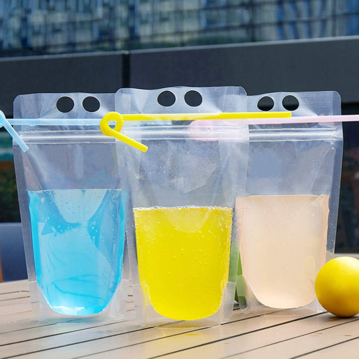 Resealable Drink Pouches with Straws