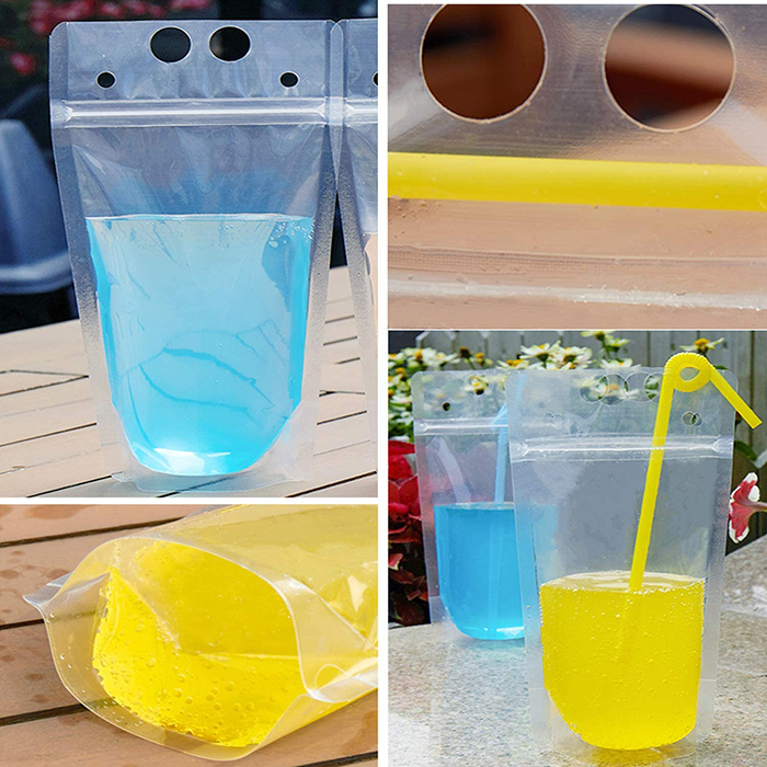 Resealable Plastic Drink Pouches with Straw