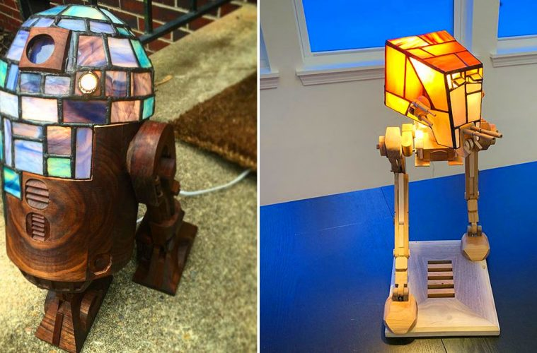 Stained glass star wars lamps