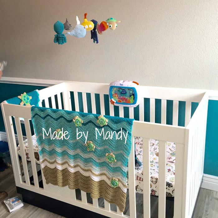White Crib with Sea Turtle Beach Blanket