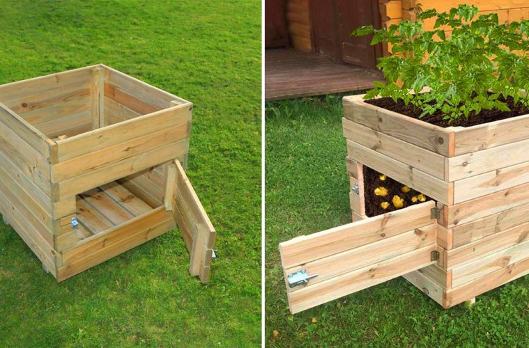 Wooden Potato Planter With Door