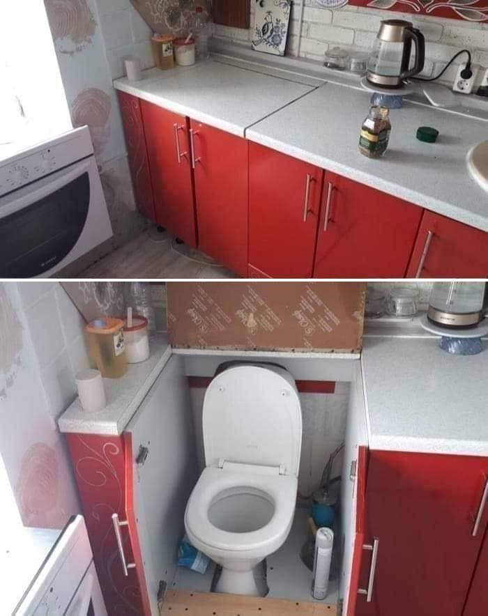 bad kitchen designs toilet bowl inside cabinet