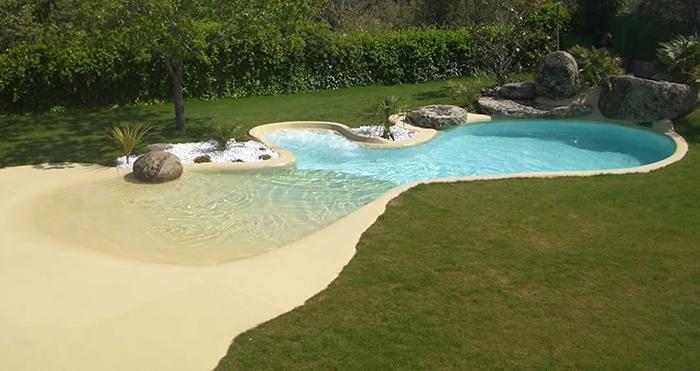 beach-style pool backyard