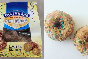 birthday cake-flavored mini donuts