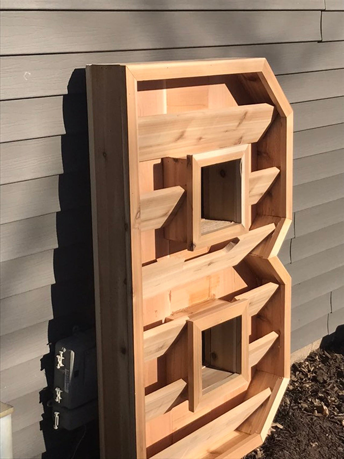 cedar wood planter with rows