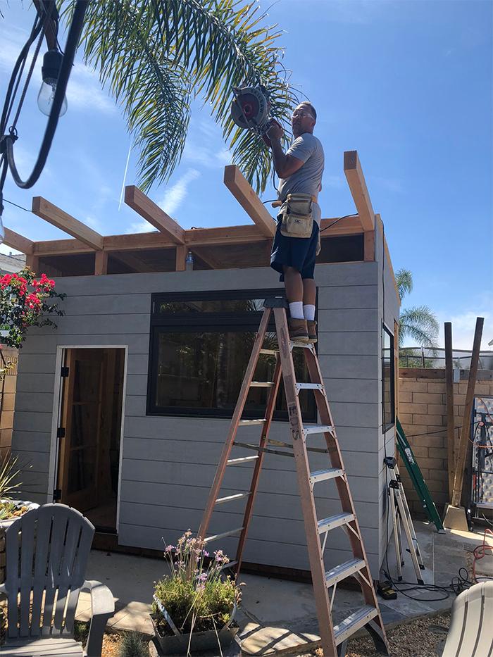 dad builds backyard diy project
