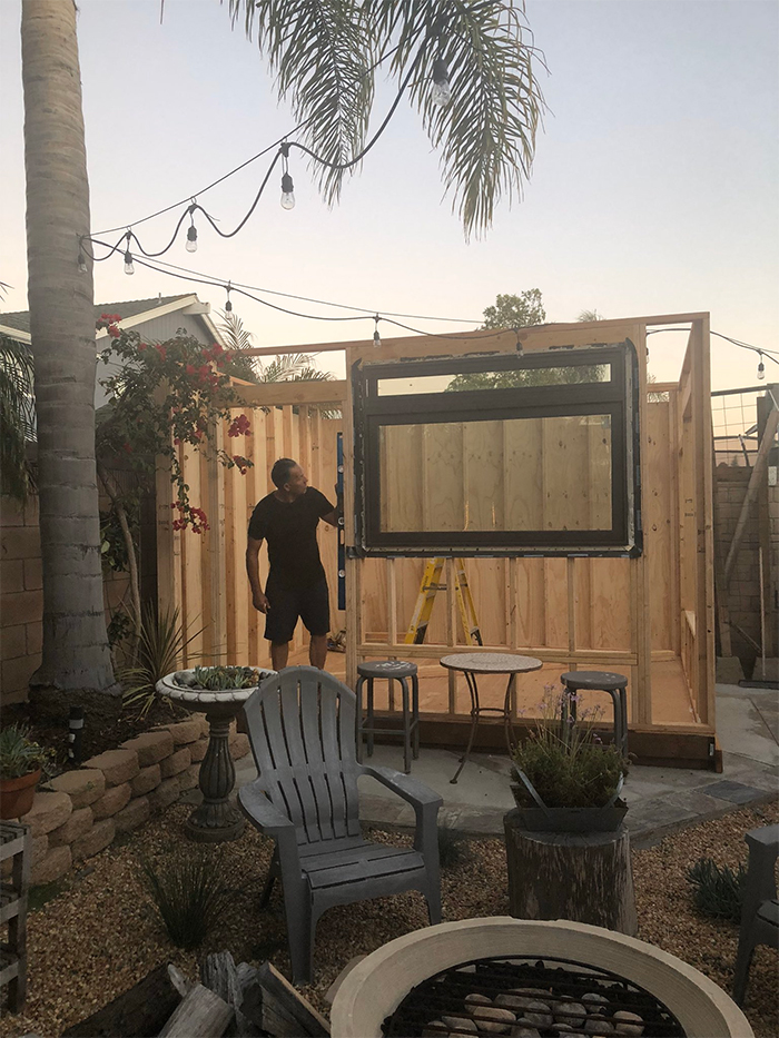 dad builds personal coffee shop in his backyard
