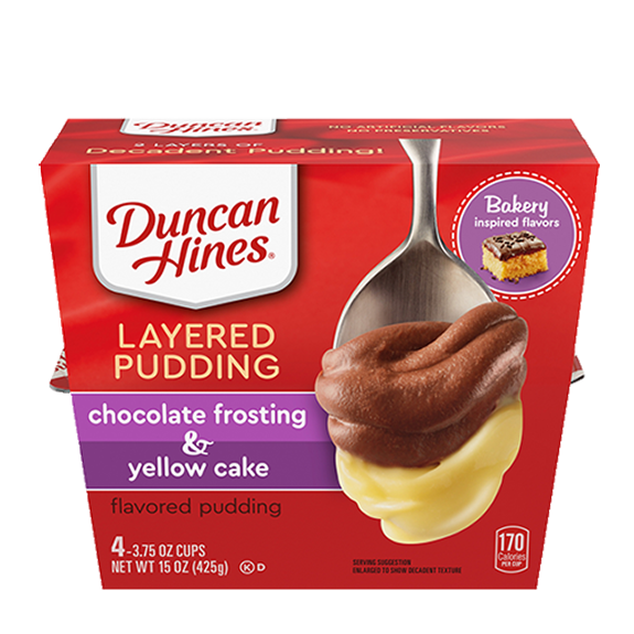 duncan hines yellow cake with chocolate frosting pudding