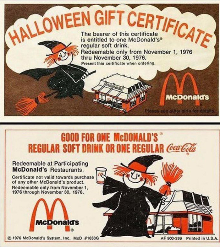 fast food chain halloween gift certificate