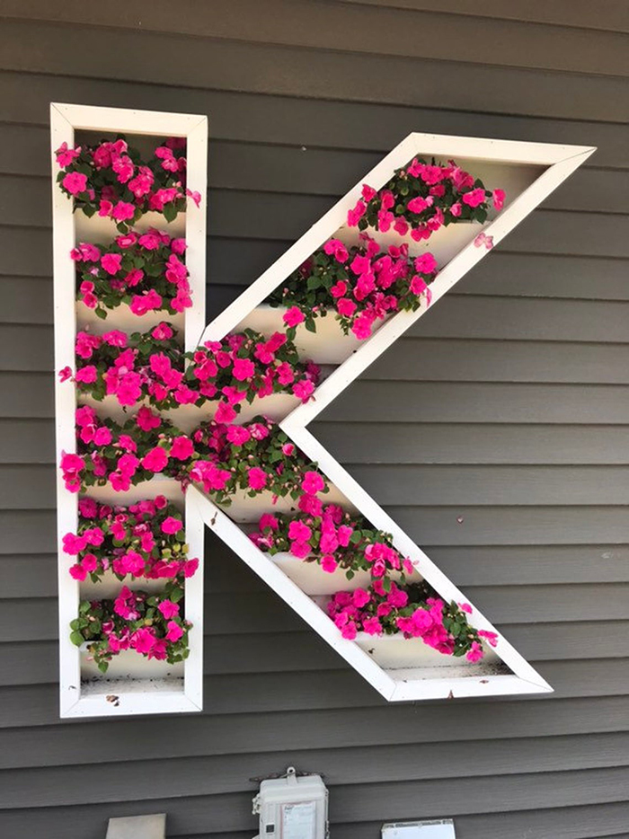 giant letter shaped planters k