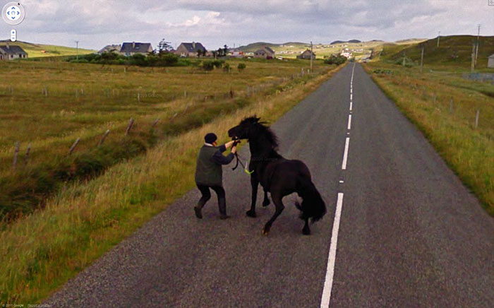 google street view man and horse