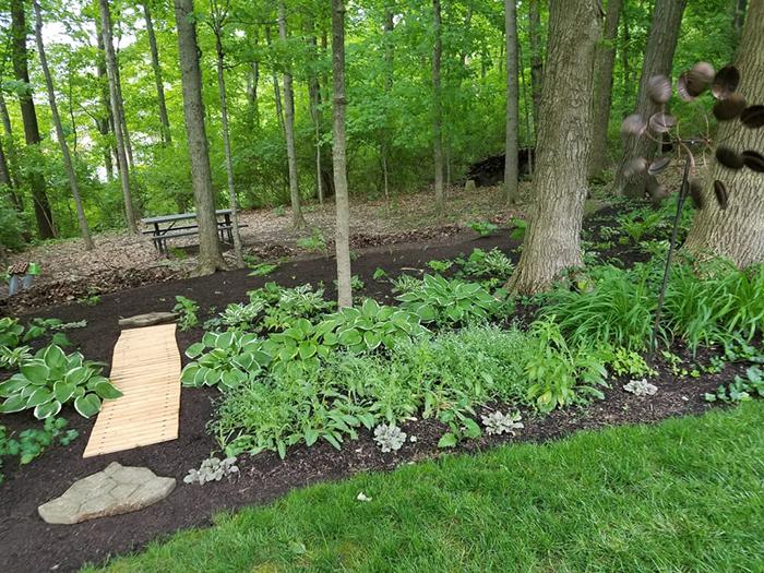 hardwood planks backyard pathway