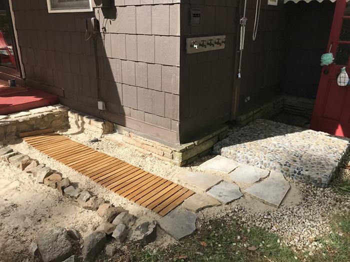 hardwood planks front door path