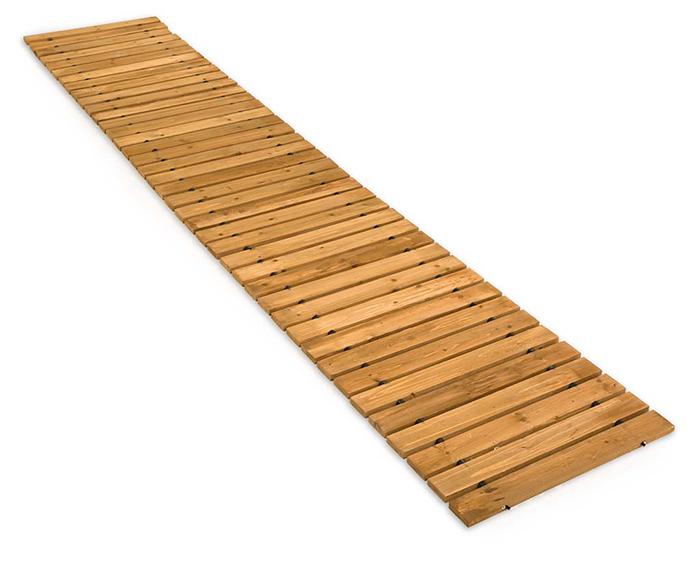 hardwood planks garden pathway