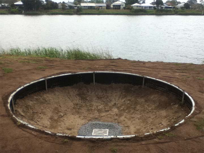 in-ground trampoline retaining wall system