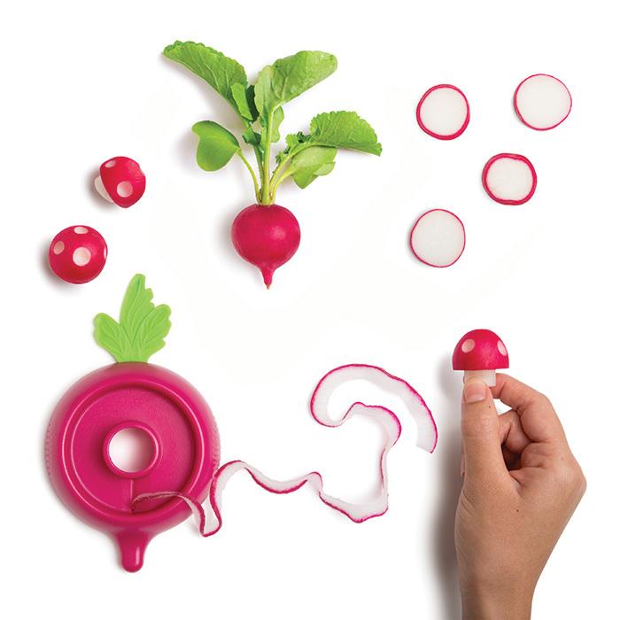 kitchen tool turns radishes into mushrooms