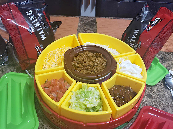 lazy susan taco bar with topping trays