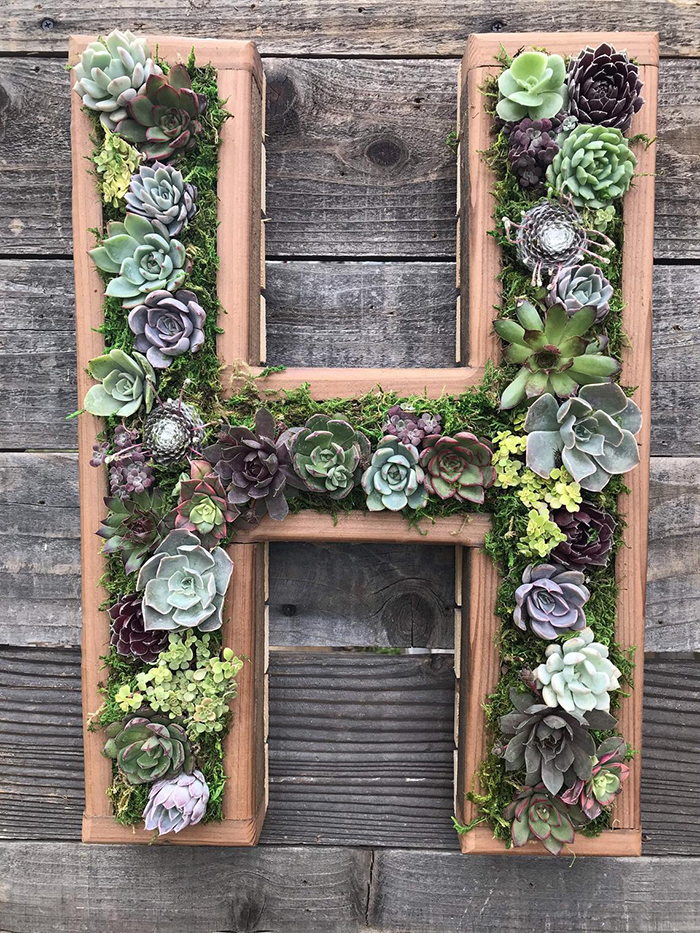 letter shaped planters h