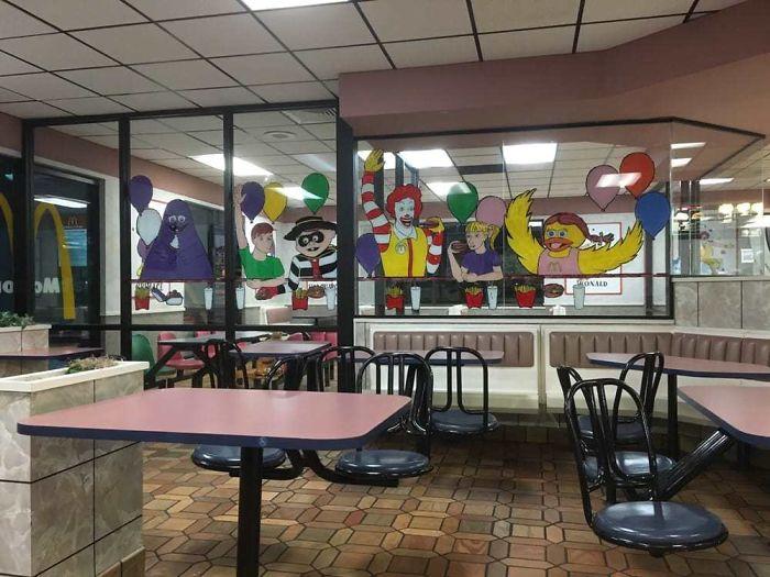 nostalgic window decal fast food
