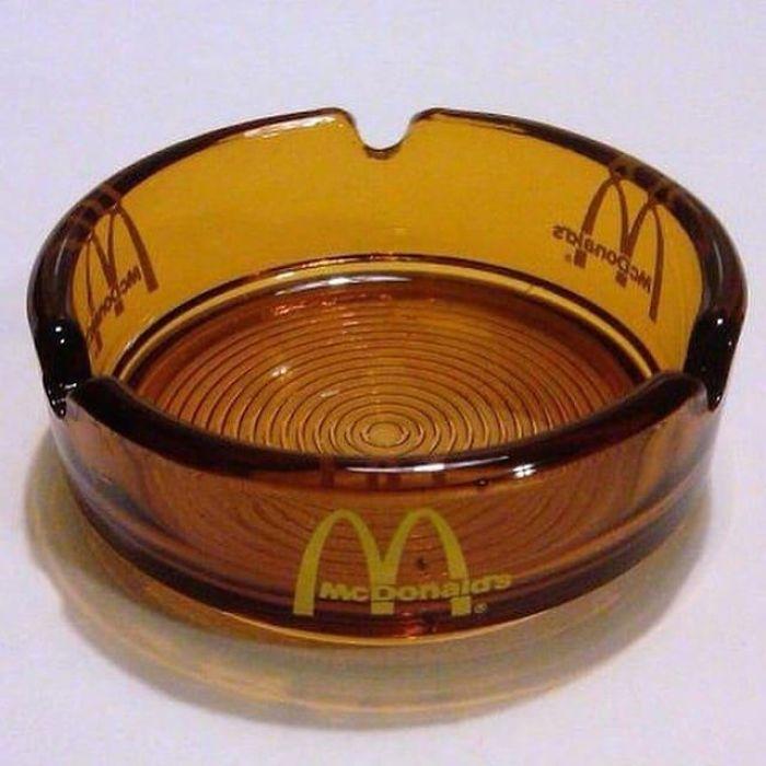 old amber glass ashtrays