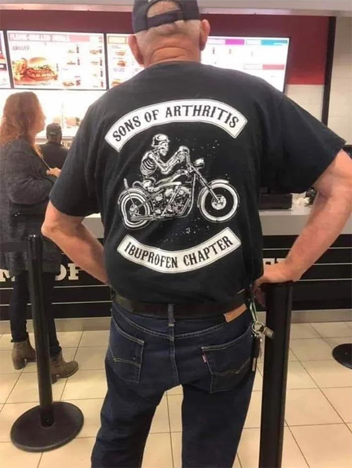 old man wearing sons of arthritis ibuprofen chapter t-shirt
