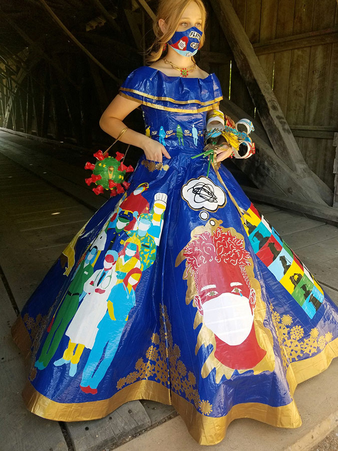 peyton manker wears her covid-19-themed diy prom dress