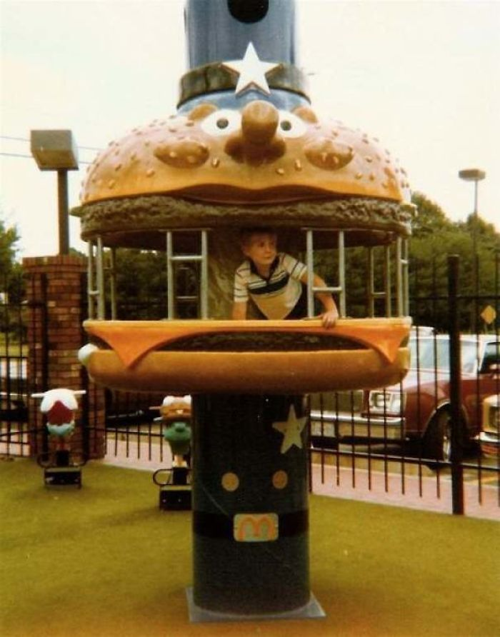 playground outside fast food restaurant