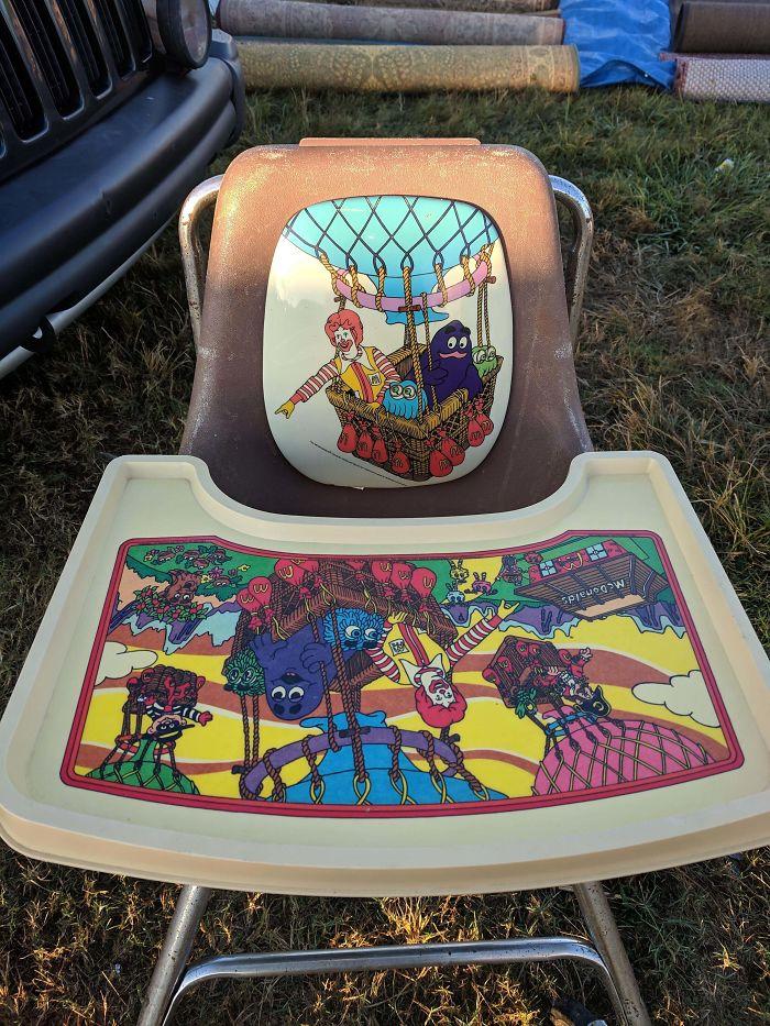 restaurant-inspired high chair from flea market