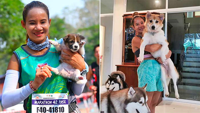 runner adopts a stray puppy