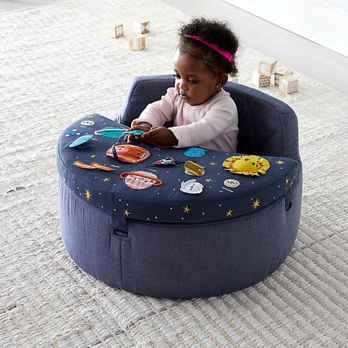 space-themed baby activity chair