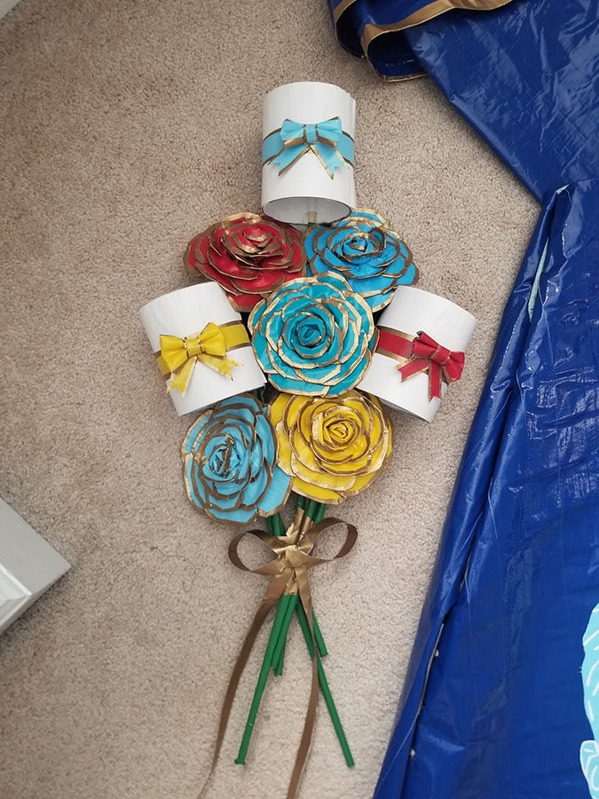 yellow and light blue rose bouquet made out of duct tape