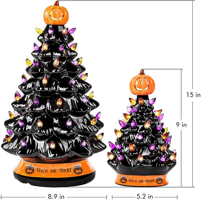 15 and 9 inch black ceramic trees