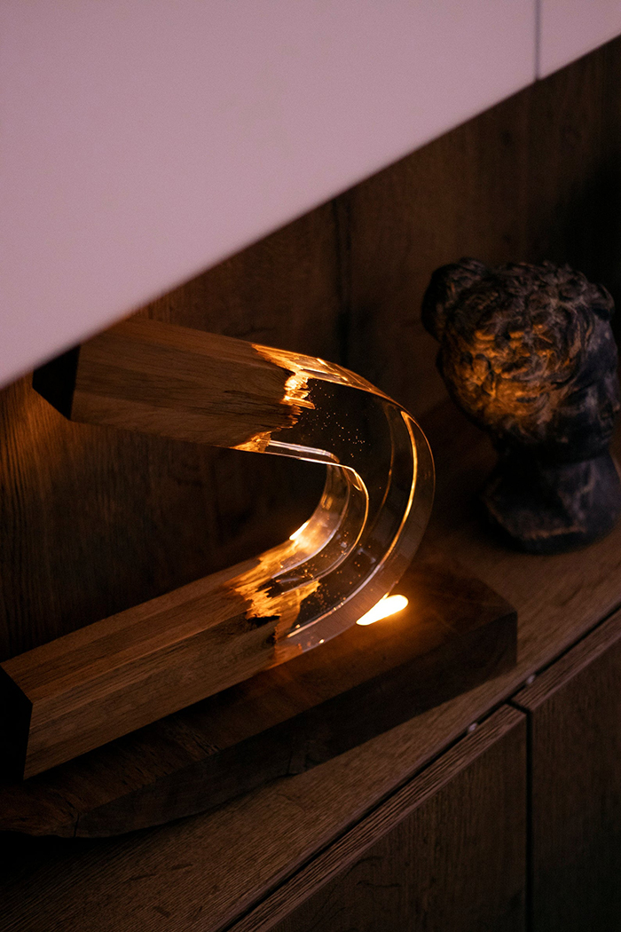 Arched Night Light Made of Wood and Resin