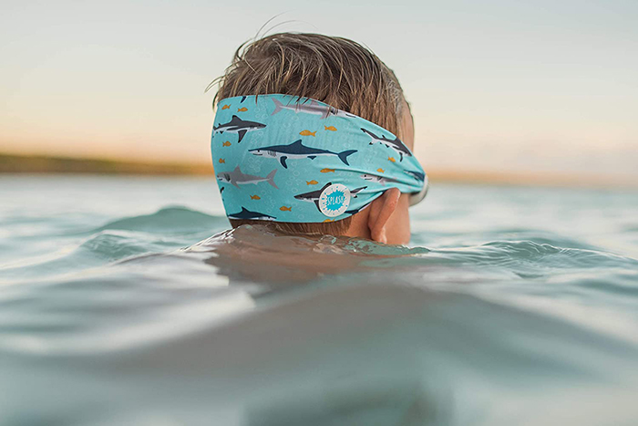 Boy Wearing Splash Swim Goggles Shark Print