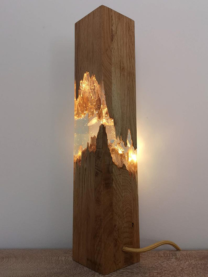 Decor Light Made of Resin and Wood