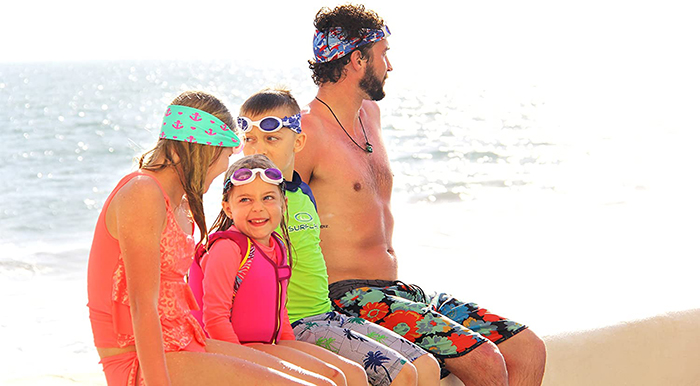 Family Wearing Splash Swim Goggles