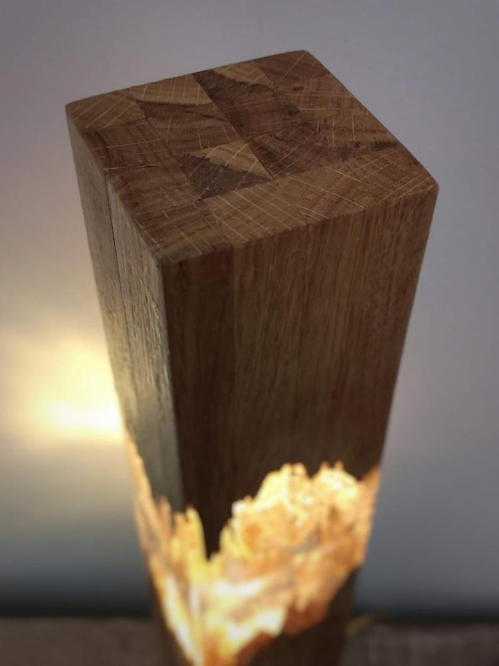Lighted Decor Light Made of Wood and Resin