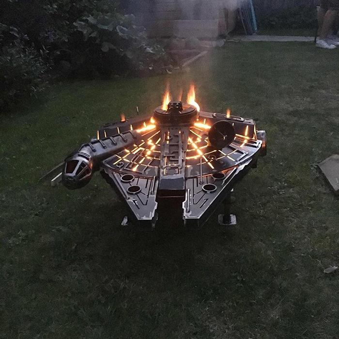 Millennium Falcon Fire Pit on Fire
